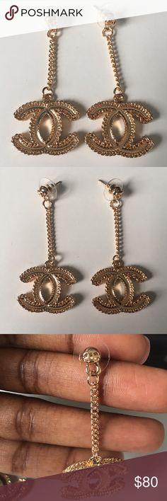 Gold dangle earrings Chanel style dangle earrings. Offers welcome! CHANEL Jewelry Earrings