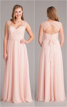 The perfect combination of a sweetheart neckline, cap sleeve, and keyhole back. A lace and chiffon bridesmaid dress your 'maids will adore!