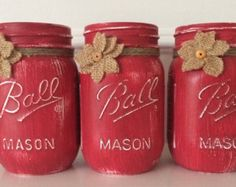 Painted Mason Jars. 1 quart and 2 pint. by JenmarksCraftyShop