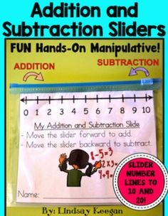 Addition and Subtraction Sliders -  These little sliders are a fun tool for your students to use to help them with their addition and subtraction facts.  They can be used to help students when doing printables, center work or for help at home.  +++ These fill up the entire bag for a clear visual of each number +++    Students simply cut out the rectangle and put it in a slider baggie.