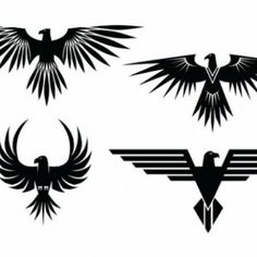 XOO Plate :: 4 Eagle Symbol Tattoo Style Vector Graphics - 4 Eagle symbols with spread wings - tattoo style - in vector Ai and Eps. Simbolos Tattoo, Symbol Tattoos, Tatoo Art, Body Art Tattoos, Tattoo Drawings, Wiccan Tattoos, Inca Tattoo, Chicano Tattoos, Tattoo Outline