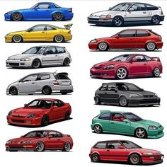 Honda for days Honda Civic Si, Honda Acura, Honda Civic Hatch, Honda Civic Coupe, Honda S, Tuner Cars, Jdm Cars, Cool Sports Cars, Sport Cars