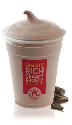 Mock Wendys Frosty: 80 calories, 0.5 g fat. Blend:1 CUP milk, 2 TBSP Sugar  Fat Free Chocolate Pudding Mix, 1 TSP Vanilla Extract