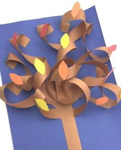 AUTUMN LABEL FROM PAPER. Original volumetric application of colored paper on the theme of autumn. For details, see the master class on the photo. Mastering children with their own hands, creativity Cool Paper Crafts, Paper Crafts Origami, Art Drawings For Kids, Art For Kids, Toilet Roll Craft, Fall Art Projects, Christmas Crafts For Kids To Make, Paper Tree, Craft Free