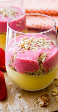Juicy strawberries, mangos, bananas, and your favorite granola come together in this healthy layered smoothie!