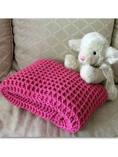"This gorgeous baby blanket is super-plush, yet lightweight. The perfect texture and supple softness make this blanket ideal for any little baby's naptime. Size: About 35"" x 35"". Made with light (DK) weight yarn and size I/9/5.5mm hook. Skill Level: Easy"
