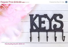 SPRING FEVER SALE Key Rack/  Rustic Black /Metal by Theshabbyshak, $17.99
