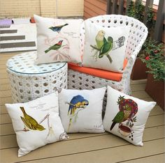 Linen cotton Creative parrot pattern Cushion cover home-decor-pillow case Home textile capas para almofadas #Affiliate