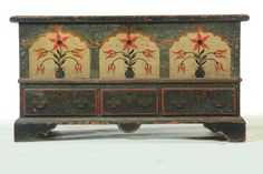 Decorated Chippendale Blanket Chest Pennsylvania or Virginia, Dated 1791, Pine and Poplar with Three Tombstone Design & Two Sets of Initials on the Center with the Year/Date Represented on the Outer Two, All Original and Amazing.