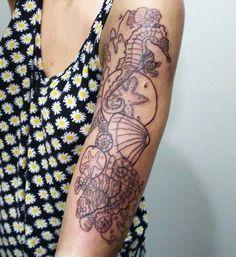 #nautical #art #drawing #sea #seahorse #sand #sanddollar #coral #shells #lining #tattoo #mermaid #underthesea #love  @deadfiish on Instagram