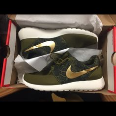 Women's Nike Roche Olive green snake print with gold Nike check Nike Shoes Athletic Shoes