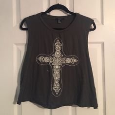 Cutoff Top Dark green cutoff top with lace cross Forever 21 Tops Tank Tops