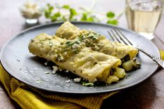 NYT Cooking: Greens and Chayote Enchiladas With Salsa Verde