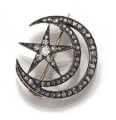 A 19th century diamond and rose-cut diamond star and crescent brooch,