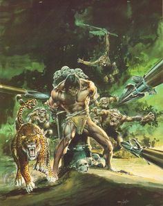 The Beasts of Tarzan, Neal Adams. Sheeta is more popularly imagined as a black panther but here Adams has opted for the spotted variety.