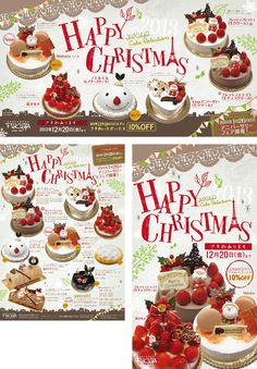 FUKUYAクリスマスケーキ Christmas Ad, Christmas Design, Menu Design, Ad Design, Menu Layout, Around The World Food, Japanese Sweets, Cute Food, Beautiful Christmas