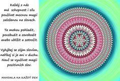 Mandala Magie pozitivní slov Motto, Beach Mat, Outdoor Blanket, Symbols, Happy, Life, Mandalas, Ser Feliz, Mottos
