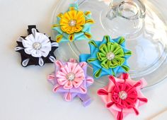 Girl hair clips  flower hair clips  girl by MagaroCreations