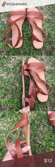 Forever 21 Strap Flat Sandals •I used these a couple of times, but they are in good condition. Photos shows the wear.  •NOTE: These don't have the size on them, but I'm a size 8, and they are big on my feet, so I assume they are 8.5. Forever 21 Shoes Sandals