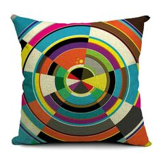 Geometric Cushion Cover 18x18 Inches Woven Cotton Linen