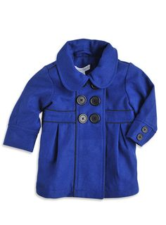 Pumpkin Patch - jacket/coat - plush double breasted coat - W3TG40020 - deep cobalt - 6-12mths to 6