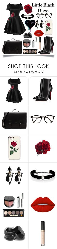 """""""Little Black Dress"""" by kitty-cat130 ❤ liked on Polyvore featuring Christian Louboutin, Casetify, Kenneth Jay Lane, Bobbi Brown Cosmetics and Lime Crime"""