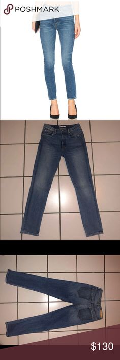 """GRLFRND Karolina Skinny High-Rise Jeans GRLFND Karolina High Rise Skinny Jeans Perfect pair of vintage jeans Size 27 Worn twice Perfect Condition Details:  Sits above waist. Slim through hips and thighs. Whiskering. Fading. Five-pocket style. Belt loops. Marigold topstitching. Coppertone hardware. 10.5"""" rise, 27.0"""" inseam,  (approximately). Button fly. (medium blue). 100% cotton. Made in U.S. Retail price $210.00 GRLFRND Jeans Skinny"""