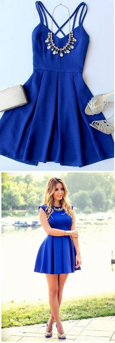 Royal Blue Homecoming Dresses,Sleeveless Evening Dress,Backless Party Dress,Straps Homecoming Dresses,Satin Prom Dress,Short Prom Dresses