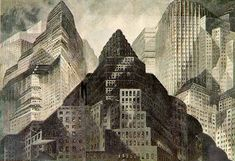 Metropolis 1927 - Film Archive - Erich Kettelhut Drawings 1925-6. Dawn, oil and gouache on cardboard, 39 x 54.5 cm. Part of opening sequence. (c) Filmmuseum Berlin - Deutsche Kinemathek.