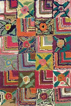 Gypsy Rose Cotton Hooked Rug Rug Hooking Designs, Rug Hooking Patterns, Rug Patterns, Pattern Ideas, Patchwork Fabric, Patchwork Patterns, Patchwork Ideas, Crazy Patchwork, Patchwork Designs