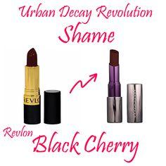 Urban Decay Revolution Lipstick in Shame Dupe: Revlon in Black Cherry Drugstore Makeup, Lip Makeup, Makeup Tips, Beauty Makeup, Urban Decay Dupes, Urban Decay Makeup, Urban Decay Revolution Lipstick, Makeup Revolution, Revlon Black Cherry