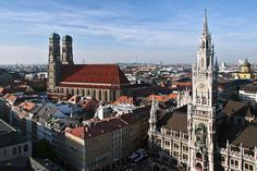 Munich City Centre- Marienplatz in front, City Hall (right) and Frauenkirche (Dome/ left)