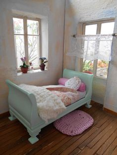 1/12 Sleigh Bed | Shabby Chic Style | Cottage Style | Dollhouse Miniature…