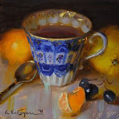 Elena Katsyura, Russian, b. 1973 Chelyabinsk, Blue Cup and Citrus