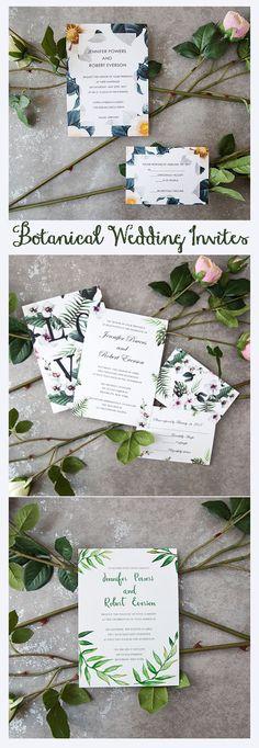 botanical inspired green wedding invitaitons from elegant wedding invites