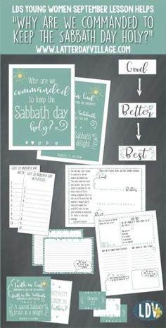 "LDS Young Women September: ""Why are we commanded to keep the Sabbath day holy?""Lesson helps includes handouts, activity ideas, worksheets, and more! - LatterdayVillage.com"