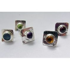 Square silver gem stud earring by Sally Ratcliffe jewellery