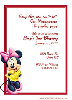 Minnie Mouse Free Birthday Invitation Template http://printableinvitationkits.com/minnie-mouse-birthday-invitation/
