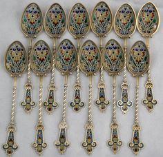 Gustav Gaudernack design for David Andersen. Set of gilt silver plique-a-jour enamel spoons. 1893-1900