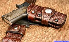 Western Holster Gun Belt Hanger | Brigade Exotic Skin Holsters- Shark Holsters, Horsehide Holsters