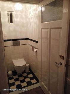 undefined Downstairs Toilet, Basement Bathroom, Bathroom Interior, Bedroom Built In Wardrobe, Art Deco Tiles, Black White Bathrooms, Toilet Room, Basement Makeover, Toilet Design