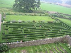 Shot over the maze at Bolton Castle, UK.