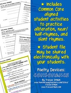 Poetry Devices: Consonance (Alliteration, Near/Half Rhymes, Slant Rhymes) - student handout may be shared electronically with students. Great for 1:1 or BYOD school.