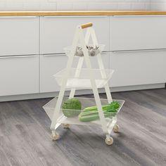 RISATORP Utility cart, white - IKEA Ikea Kitchen Cart, Kitchen Island Trolley, Kitchen Items, Kitchen Islands, Kitchen Cupboards, Decorative Wood Pieces, Wordpress Theme, Ikea Hallway, Ikea Island