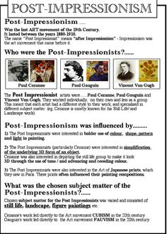 Post-Impressionism Source by Art History Lessons, Art Lessons, Art History Timeline, History Essay, Art Analysis, Art Handouts, Art Periods, Art Criticism, Art Worksheets