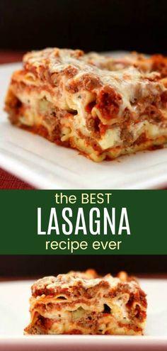 Classic Homemade Lasagna - millions agree that this recipe is the best. The ultimate comfort food with layers of pasta, meat sauce, and three kinds of cheese. And the no-boil noodles work perfectly! Worlds Best Lasagna Recipe Ever, Best Recipe Ever, Classic Lasagna Recipe, Best Meat Lasagna Recipe, Ultimate Lasagna Recipe, Lasagna Meat Sauce, Lasagna Soup, Easy Lasagna Recipe With Ricotta Cheese, Gourmet
