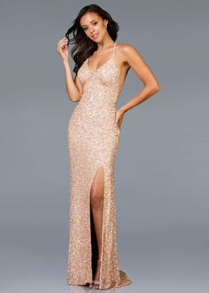 cf16fbbcd43 Scala 48938 V-Neck Sequin Gown with Slit
