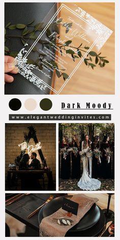 Dark moody wedding theme inspiration with modern acrylic invitation card Acrylic Wedding Invitations, Floral Invitation, Wedding Cards, Diy Wedding, Dream Wedding, Wedding Ideas, Wedding Theme Inspiration, Wedding Goals, Wedding Planning