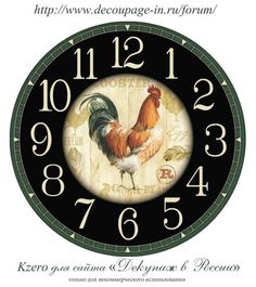 ART-ЭПАТАЖ | VK Clock Face Printable, Clock Craft, Face Images, Galo, Free Pictures, Vector Art, Miniatures, Clock Faces, Roosters