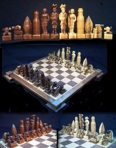 Pirate Chess Set handmade on etsy hand carved custom chess sets chess pieces chess boards.